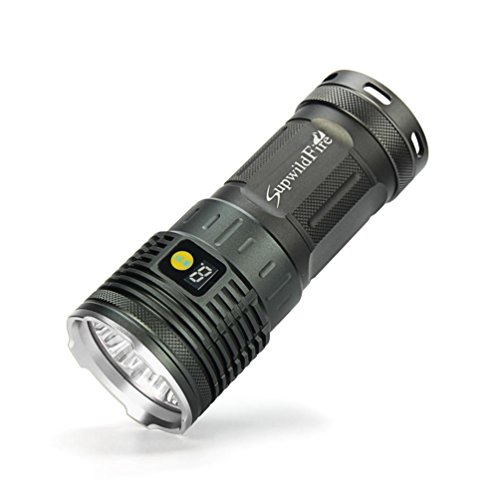 fuibo [linterna linterna de mano] supwildfire 50000lm 15x XM-L T6LED Pantalla Digital Caza linterna para exterior, camping, senderismo, Not casos, etc., Plateado