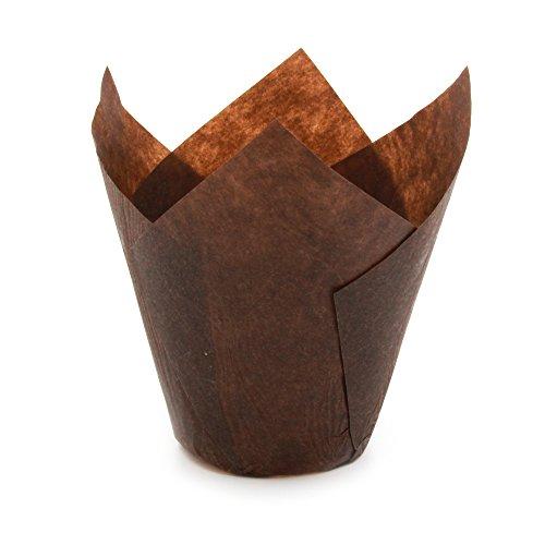 Tulip Cupcake Liner Papier Backförmchen Easy Release Muffin Cup Liners/NO müssen Spray Tasse perfekt zum Backen Muffins und Cupcakes, Papier, Brown Tulip, Mini H 2-23 / 64