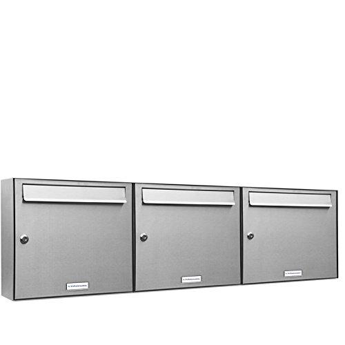 AL Briefkastensysteme 3 er Briefkastenanlage in V2A Edelstahl, Premium Briefkasten DIN A4, 3 Fach Postkasten modern Aufputz