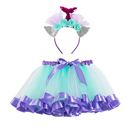 Mädchen Kinder Tütü Kleid + Stirnband Set Party Ballett Regenbogen Tüllrock Bunt Rock Fotoshooting Outfits Tutu Pettiskirt Prinzessin Blumenkrone Haarbänder Geburtstag Karneval 2-11Jahre (Blau, - Lion Dance Kostüm Hosen