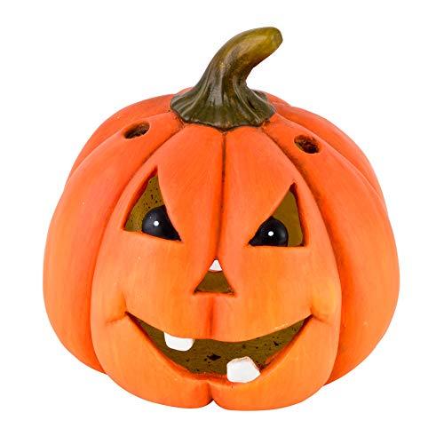 Dadeldo-Home Kürbis Spooky Deko-Objekt Halloween Clayfibre Orange Herbst (28x28x28cm)