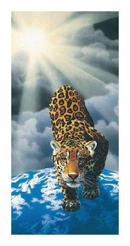 Badetuch - Leopard - Motiv: Leopard - Leopard Sun - Strandtuch - Saunatuch - 100 % Baumwolle - Grösse: ca. 150 x 75 cm -ca. 460 Gramm pro Stück schwer - NEU (Leopard 100% Baumwolle)