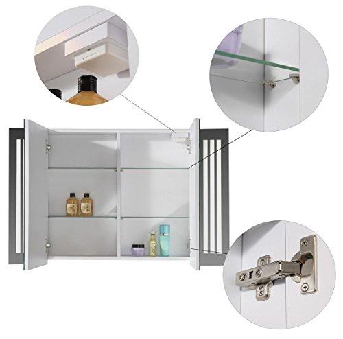 Eurosan 2-türiger Spiegelschrank, Superflach, Integrierte LED-Frontbeleuchtung, Breite 100 cm, Weiß, Sydney, S100 - 3