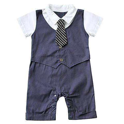 EFE Bébé Garçon Gentleman Ensenble/Combinaison d'été 1 pc Barborteuse + 1 pc Chapeau Bonnet Jumpsuit Notable Anniversaire 6-18 Mois (6-9 mois, Blue