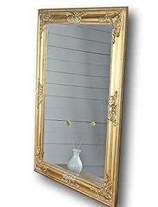 elbm bel 82x62cm rechteckiger wand spiegel handgefertigter vintage antik rahmen aus holz gold. Black Bedroom Furniture Sets. Home Design Ideas