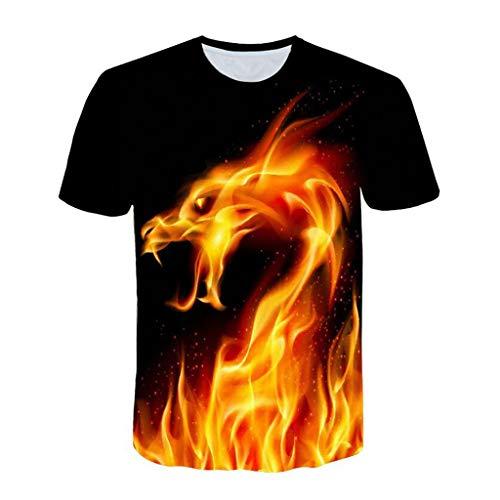 Julywe Herren Kurzärmelige T-Shirt 3D Grafik Drucken Kurzarm T-Shirts Kräftig Drachen Muster Sommer Cooles T-Shirt Tank Top für Männer Herrenmode Tankshirt Männer Sexy T-Shirt Pur Schwarz - Drachen-grafik-t-shirts