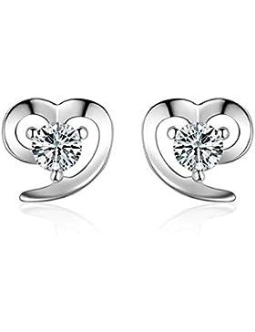 S.Vantine Damen Ohrstecker Ohrringe aus 925 Sterling Silber mit funkelnden Kristallen in angedeuteter Herzform...