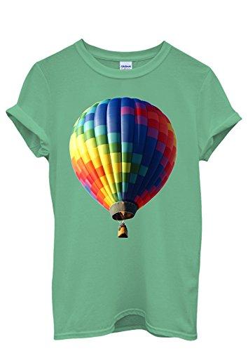 Air Balloon Colourful Cool Men Women Damen Herren Unisex Top T Shirt Grün