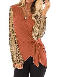 fa23cca0f193c8 Frauen Casual v-Ausschnitt gürtel Chiffon Printed Puff ärmeln Bluse  Sonnencreme Tops Female Outwear Weste Winter Damen warm Jacke…