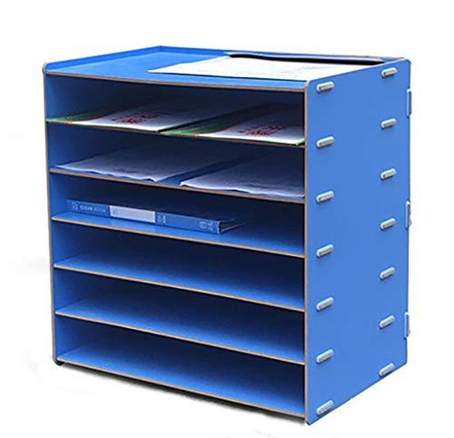 YWWJJ Titolare di File Scatola portaoggetti da scrivania in Legno, Armadio da Ufficio di Forniture per Ufficio casa Fai da Te con Sezione Cartella A4 e 6 Scomparti (Colore : F.)