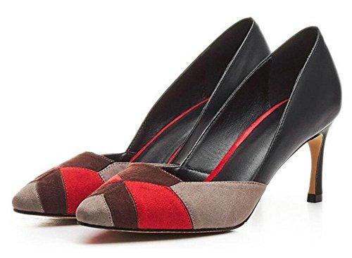 Beauqueen Pumps Rechtschreibung Scarpin Wildleder Square-Toe Stiletto Mid Heel Work Casual Schuhe EU Größe 34-39 spelling