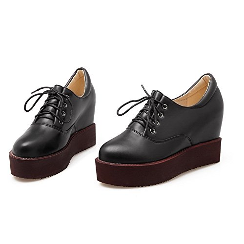 AgooLar Femme Rond à Talon Haut Matière Souple Couleur Unie Lacet Chaussures Légeres Noir