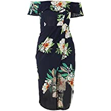 LUFA Mujeres Off Shoulder Floral Printed Split Vestidos Ruffle Irregular Summer Beach Dress