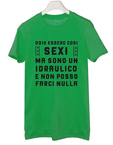 Tshirt mestieri- Odio essere così sexi ma sono un idraulico e non posso farci nulla - Tutte le taglie by tshirteria Verde