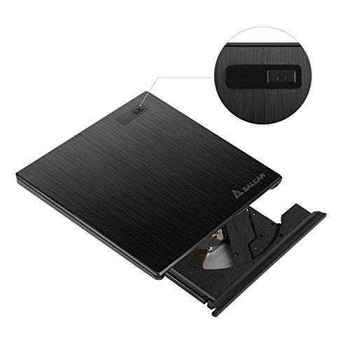 Salcar - DVD RW DVD/CD Brenner Externes DVD Laufwerk Portable(tragbar) Slim USB 3.0 mit Gebürsteter Oberfläche, 9,5mm 100% Neu Chip, Superdrive für Notebook/Laptop/Desktops unter Windows Vista/XP/7/8/8.1/10 und Apple Macbook Pro, Macbook Air, iMac OS- Schwarz