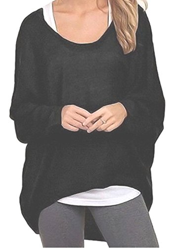 Emma & Giovanni - Pullover / T-shirt Oversize - Damen (M/L, Schwarz)