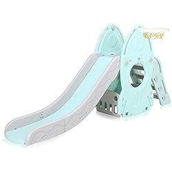Baby Vivo Toboggan Enfant Aire de jeux Jeu d'Extérieur et à l'Intérieur pour Enfants Jardin en Turquoise / Gris