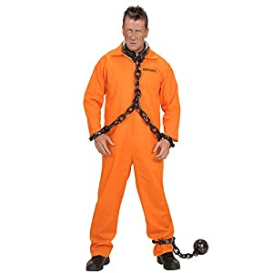 County Jail Inmate Costume Medium for Prisoner Convict Jail Fancy Dress