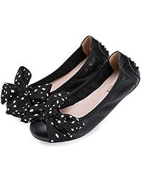 Ballerines Plates Escarpins En Cuir Pliables Chaussures De Pois Chaussures Bateau Chaussures Portable Egg Roll Lazy Shoes