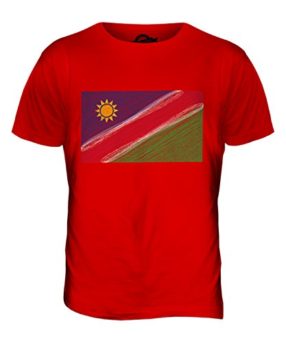 CandyMix Namibia Kritzelte Flagge Herren T Shirt Rot