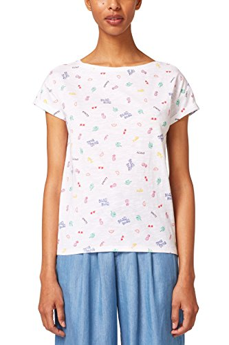 edc by ESPRIT Damen T-Shirt 058CC1K099, Weiß (White 100), Large