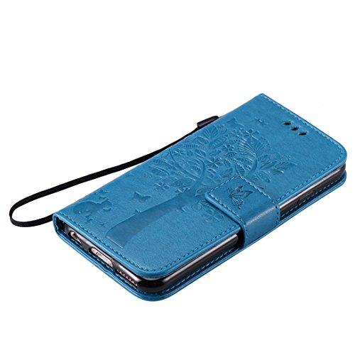 (Sleeping Bear)Apple iPhone 7 Case/Custodia/Caso, squisito elegante lalbero e il gatto il disegno in rilievo PU Leather telefono Caso/custodia ,[Lanyard] Retro Puro Color Protettiva Flip carta vibraz Blu