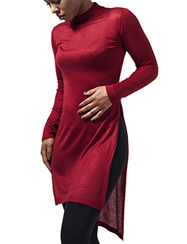 Urban Classics Damen T-Shirt Ladies Fine Knit Turtleneck Long Shirt, Rot (Burgundy 606), Large (Knit Jeans Womens)