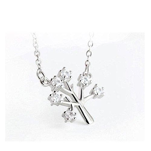 (Axiba 925 Sterling Silber Halskette Wunsch Baum Schlüsselbein Kette Diamond Tree Ornaments Christmas Gifts Das schönste Geschenk)
