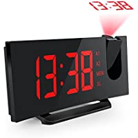 Projection Alarm Clock, Mpow Digital Alarm Clock with USB Charging Port Snooze Function, 5-inch Large Display with Dimmer, 12/24 Hour, Battery Backup for Power Failure