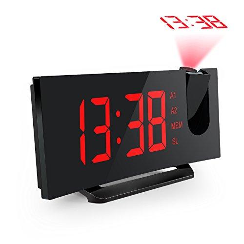 Mpow Radiosveglia con Proiettore Dimmerabile, FM Orologio con Doppi Allarmi, USB Porta di Ricarica, Funzione di Snooze, Grande Schermo da 5 Pollici con Dimmer, Temporizzatore di Sonno, 12/24 Ora-Rosso