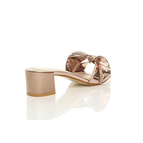 Damen Klein Mitte Blockabsatz Diamant Schleife Flip-Flops Sandalen Pantoletten Größe Roségold