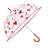 Transparent Umbrella for Women - Clear Dome Bubble Stick Brolly - Fashion Hearts Print - Strong, Windproof and Resistant - Diameter 89 cm - Perletti Time