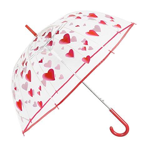 Ombrello trasparente con cuori donna - ombrello cupola automatico con stampa cuori rossi - resistente e antivento - fantasia alla moda - diametro 89 cm - perletti