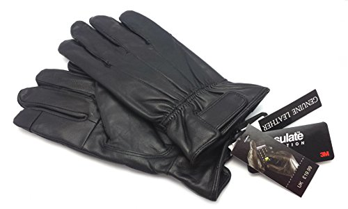 ODS:UK® MENS TOUCH SCREEN REAL LEATHER GLOVES THERMAL LINED BLACK DRIVING WINTER GIFT (M / L MEDIUM / LARGE)
