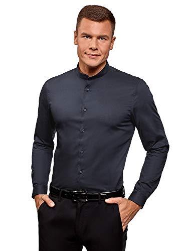 Oodji ultra uomo camicia silm fit con collo alla coreana, blu, 40cm / it 46 / eu 40 / s