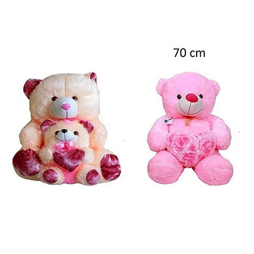 ZOONIO Pink & Cream Baby Teddy(70 cm) and Get A Free Pink Color Teddy Bear 60 cm