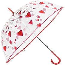 Paraguas Transparente Mujer - Paraguas Clásico de Burbuja Automatico - Estampado Corazones - Fantasia a la