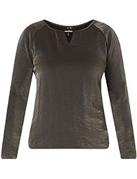 Yesta Damen Shirt festlich Gummibund Schwarz Metallic Glitzer elegant  Langarm mit Schlitz große Größen 76692c15f4