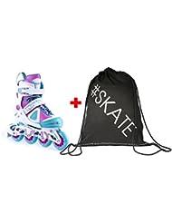 SET - SPOKEY® CLAMY Inline Skates + ULTRAPOWER® Beutelrucksack | Größenverstellbar | Kinder | Damen | Herren | Inliner | Inline Blades | Aluminiumschiene | ABEC7 Karbon | Größen 30-33 / 34-37 / 38-41