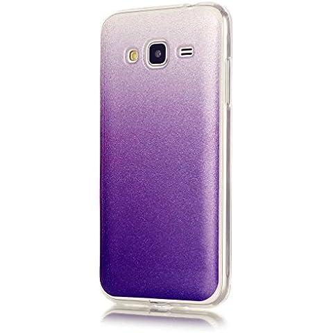 KSHOP Premio Case Cover per Samsung Galaxy J3(2016) Cáscara Ultra Flessibile Luccichio TPU Silicone Trasparente Case Colorato Caso Custodia Ammortizzante Anti-Scratch Protettiva Conchiglia - Porpora Blu