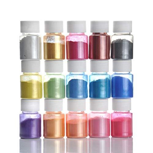 DEWEL 15er×10g Epoxidharz Farbe, Metallic Farbe Resin Farbe Seifenfarbe Set Pigment, Mica Pulver Powder für Seife Epoxy Epoxydharz Kunstharz Gießharz
