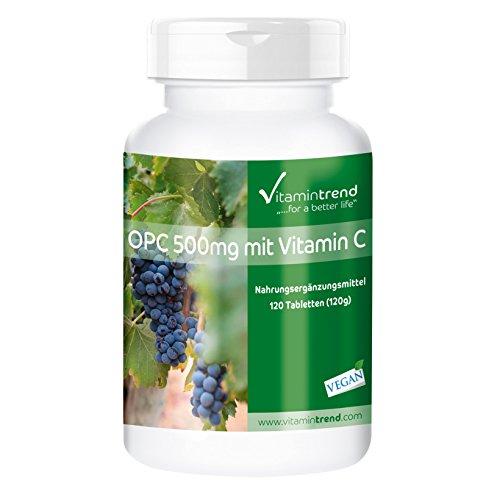 OPC 500mg mit Vitamin C, vegan, 120 OPC-Tabletten für 4 Monate, hochdosiertes OPC aus Traubenkernextrakt mit Vitamin C, für Immunsystem & Vitalität