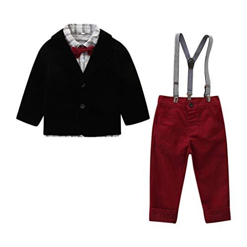 Baby Jungen Gentleman Weihnachten Smoking Suits Kids Boy Christmas Carnival Party Anzug 9 Pcs Outfits Blazer Coat Streifen Hemd Hosenträger Lang Hose Festival Weihnachts Hochzeit Taufanzug Kostüm