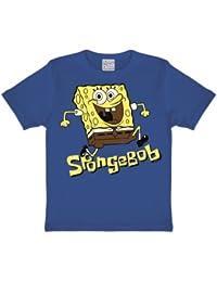 Logoshirt Camiseta para niño Bob Esponja - Salto - Spongebob Squarepants -  Jumping - Camiseta con Cuello Redondo Azul - Diseño… 50638ce7486