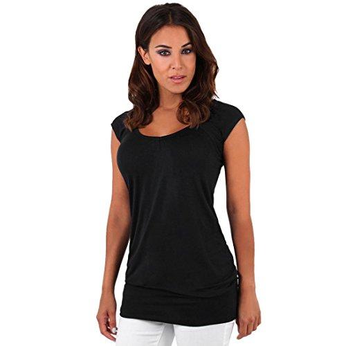 feiXIANG mode frauen Damen soliden casual bluse hemd lange kleider Rundhals Shirt Damen Schlankes Kurzarm T-Shirt (XL, Schwarz) (Cowl Kleid)
