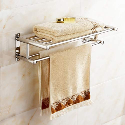 Estante Toallero, Toallero de acero inoxidable Toallero Doble para Toallas y Almacenamiento para Casa y Hotel Baño, 60 × 22 × 15.5 cm