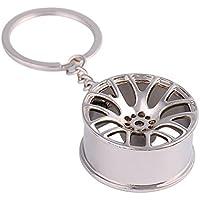 Kanggest llavero colgante de la llave del coche de metal de la rueda del coche (Silver)