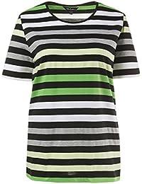 Ulla Popken Damen große Größen bis 66+   T-Shirt   Rundhals, Halbarm    Reine Baumwolle, breites Ringel-Muster   weiß, gelb, grün,… 8e0c3dd201