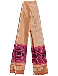 DollsofIndia Light Beige With Red Stole With Ikkat Design - 34 X 92 Inches (RH24) - Beige, Red