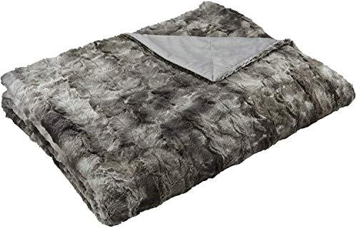 Amazonbasics - coperta in pelliccia sintetica, 150 x 200 cm, grigio